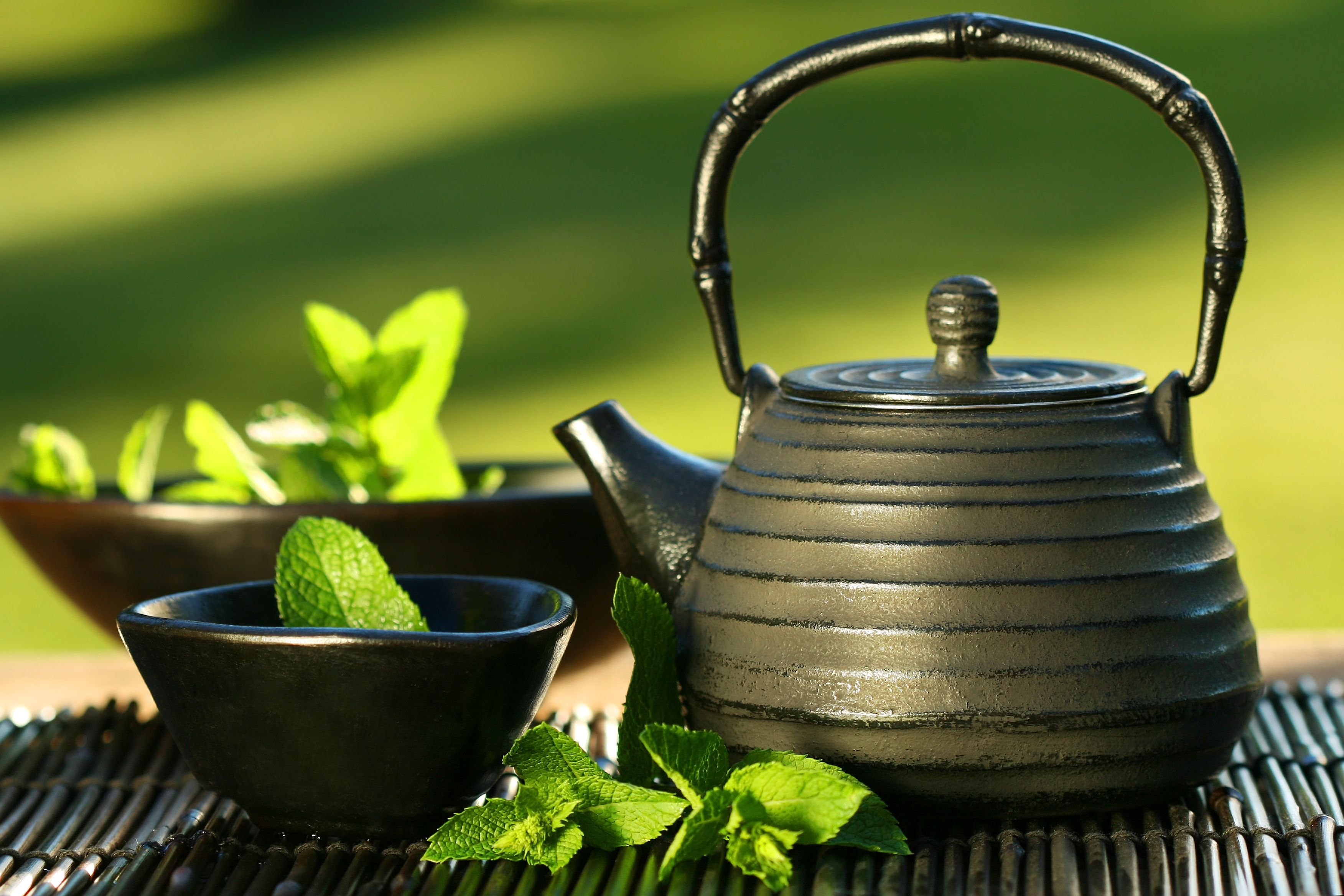 Tea in a traditional cast-iron tetsubin teapot.